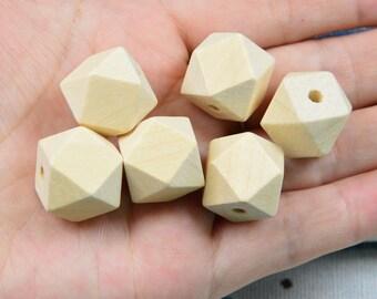 15pcs 20 mm inachevée en bois naturel perles 14 Hedron Figure Géométrique Solide à Facettes