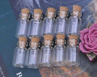 10 small glass bottles, small glass bottles with corks, glass bottles with cork, glass bottles, glass bottles with corks, glass jar 10x18mm