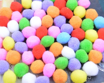 50 Pom Poms, cotton Pom Poms, cotton Balls, colorful Pom Pom balls, Assorted color cotton pompom, Craft Supply Pompoms Handmade Pom Pom 22mm