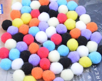 50 Pom Poms, cotton Pom Poms, cotton Balls, colorful Pom Poms, cotton pompom, Assorted color Craft Supply Pompoms, Handmade Pom Poms 18mm