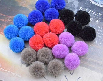 50 Pom Poms, Cashmere Pom Poms, fluffy Cashmere Balls, colorful fluffy Pom Pom, Assorted color Cashmere pompoms, Craft Supply Pompoms 22mm