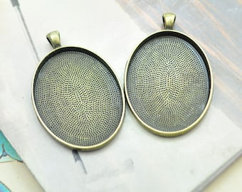 20 Oval blank pendant, antique bronze Large oval pendant trays, oval photo frames, 30x40mm cabochon tray base drops, bezal tray settings