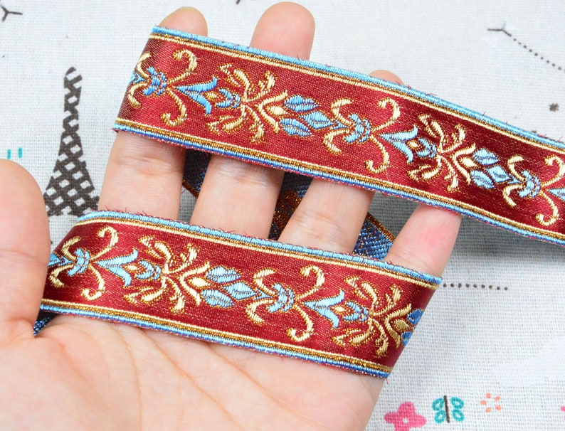 1m Flower Jacquard ribbon Geometric woven trim border embroidered ribbon sewing trim
