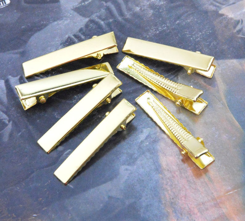 gold metal hair clip 100 gold clips wholesale clips 7x41mm flat gold barrette clips jewelry clips alligator clips