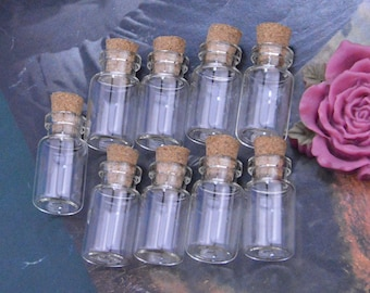 10 Small glass bottles with corks, Glass bottles, Small empty bottles, Mini glass bottles, Vials, corked bottles, small glass jars 13x25mm