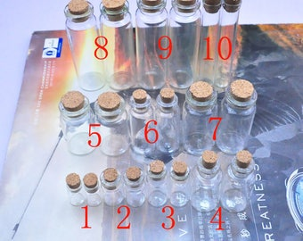 50 small glass bottles, mini glass bottles, glass bottles with cork, small glass bottles with corks, cork bottles, small glass jars 22x70mm