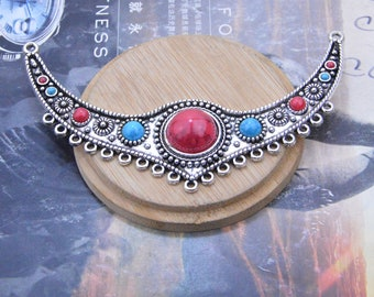 2 Vintage red blue gems necklace Pendant Focal, Antique Silver Moon Link connectors, 19 Hole Pendant 122x70x12mm Jewelry drops hanger