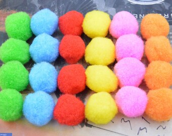 50 Pom Poms, cotton Pom Poms, cotton Balls, colorful Pom Pom ball, Assorted color cotton pompom, Craft Supply Pompoms, Handmade Pom Pom 28mm