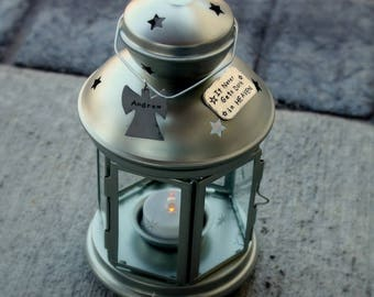 "Personalized MEMORIAL LANTERN for loss of baby, child, or loved one ""It Never Gets Dark in HEAVEN"" Free Shipping"