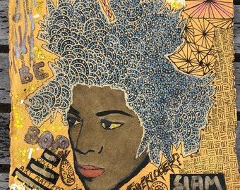 172117c64b The Interloper - Original mixed media painting inspired by Jean-Michel  Basquiat