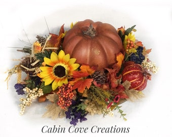 Fall Bounty Autumn door Wreath pumpkins gourds burlap XL design by Cabin Cove Creations Custom