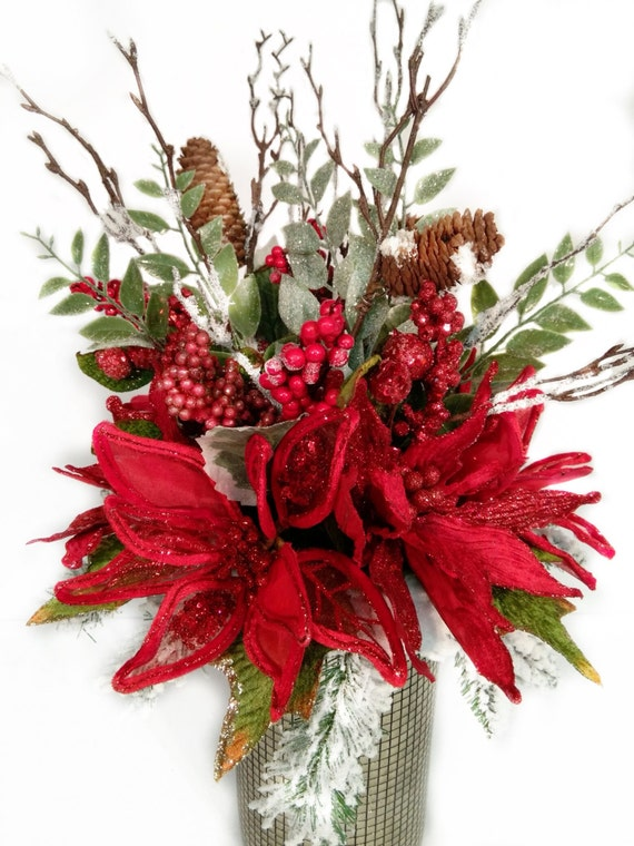 Christmas centerpiece holiday floral arrangement