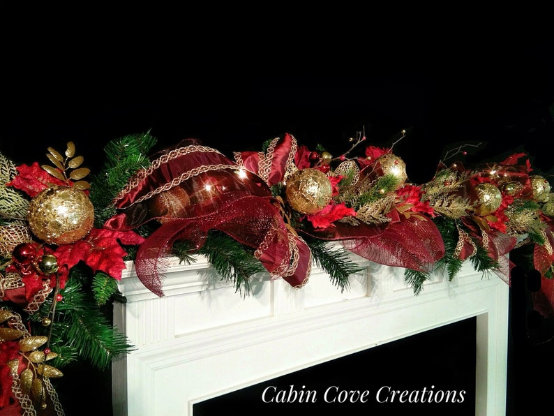 Christmas Mantel Garland Swag Burgundy Gold Lights Rich Exquisite Matching Wreath Available Custom Designs By Cecilia Cabin Cove Creations