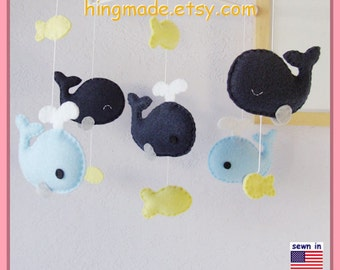 Whale Baby Mobile: Navy and Yellow Nautical Neutral Nursery Decor, Whale Family and Little Fish Under the Sea - Navy Baby Blue Light Yellow