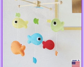 Fish Baby Mobile: Under the Sea Neutral Nursery Decor, Colorful Goldfish Cot Mobile, Red Ocean Blue Light Green Orange Yellow theme