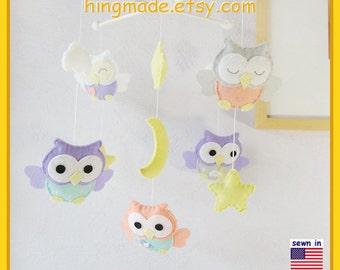 Nursery Baby Mobile Aqua Owls Moon And Stars Theme