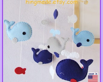 Whale Baby Mobile: Royal Blue Neutral Whale Nursery Decor, Jackson Whale Family and Little Fish - Royal Baby Blue Gray Red