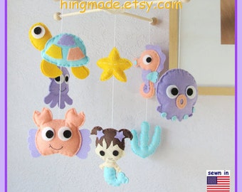 Baby Mobile, Mermaid Mobile, Baby Girl Mobile, Baby Crib Mobile, Nursery Mobile, Aqua Coral Purple Sunflower, Under the sea theme