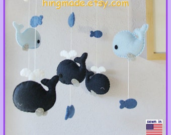 Baby Mobile, Baby Crib Mobile, Baby Boy Mobile, Baby Nursery Decor, Whale Mobile, Navy Blue Gray, Match Bedding Mobile