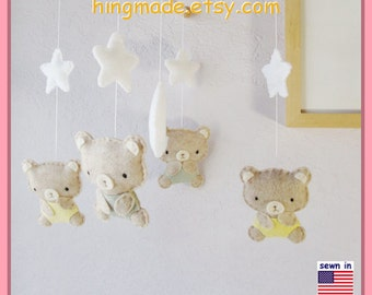 Teddy Bear Mobile, Baby Mobile, Neutral Mobile, Moon and Stars Cot Mobile, Bear Nursery Mobile