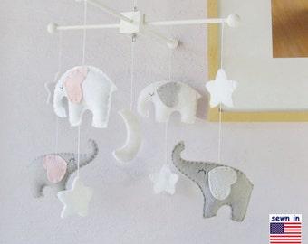 Baby Crib Mobile, Nursery Decor, Elephant Mobile, White Mobile,  Starry Night Mobile, Gray White Pink,Custom Mobile