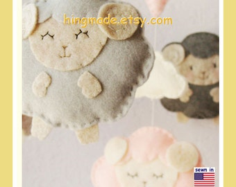 Baby Mobile: Neutral Colors Little Lamb with Pink Heart Theme, Gender Neutral Nursery Decor. Anqitue White Baby Pink Gray Smoke Sandstone