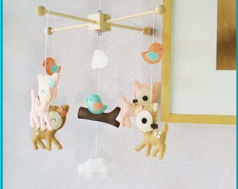 Baby Crib Mobile, Baby Mobile, Nursery Mobile, Deer Baby Mobile, Pink Tan Coral Turquoise Forest Deers and Birds Mobile
