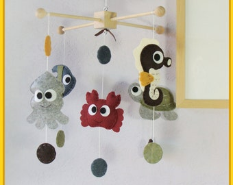Baby Crib Mobile, Nursery Mobile, Felt Nursery Decor, Hanging Mobile, Polka Dot Under the Sea Theme, Custom Mobile