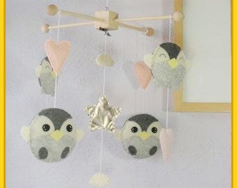 Penguin Mobile: Pink Penguin Arctic Nursery Baby Crib Mobile. Light Almond Pink Smoke Gray Ivory
