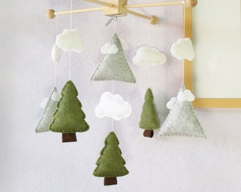 Mountains Baby Mobile: Nordic Style Mountain and Tree Modern Nursery Decor, Nature Pine Tree Camping, Olive Green Granite White