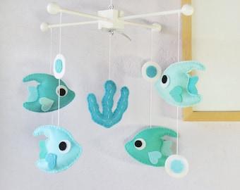 Angelfish Mobile: Teal Under the Sea Polka Dot Nursery Decor, Lovely Ocean Fish, Aqua Turquoise White Theme