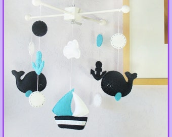 Whale and Sailboat Mobile: Teal and Navy Neutral Nautical Polka Dot Nursery Decor, Whale and Anchor Mobile - Navy Blue Aqua White