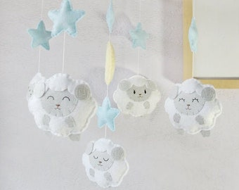 Baby Crib Mobile: White Furry Little Sheep in the Blue Starry Night Theme, Counting Sheep Baby Room Decor. Gray Powder Blue White