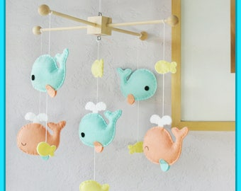Whale Mobile, Baby Mobile, Nursery Decor, Baby Girl Mobile, Fish Mobile, Coral Turquoise Whale Family and Yellow Fish