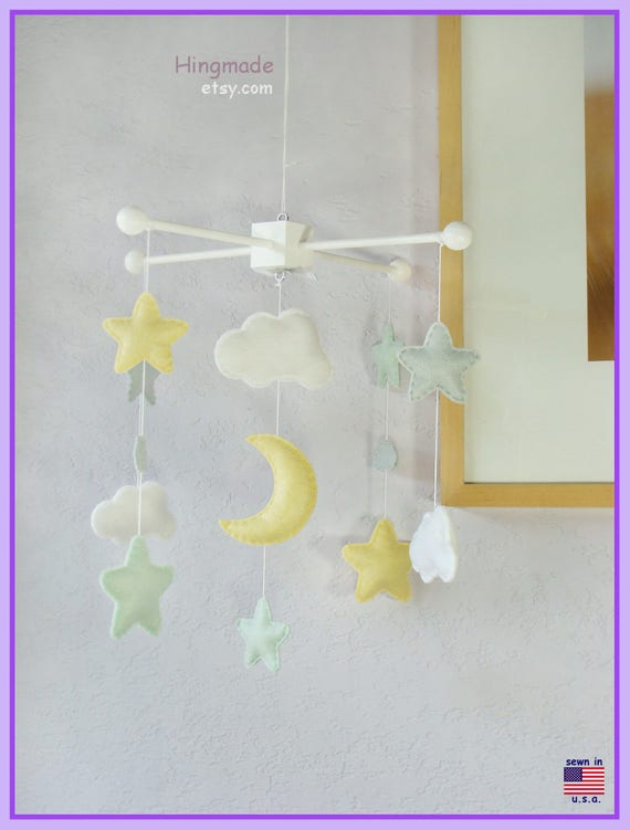 Baby Crib Mobile Pastel Colors Moon Stars And Clouds