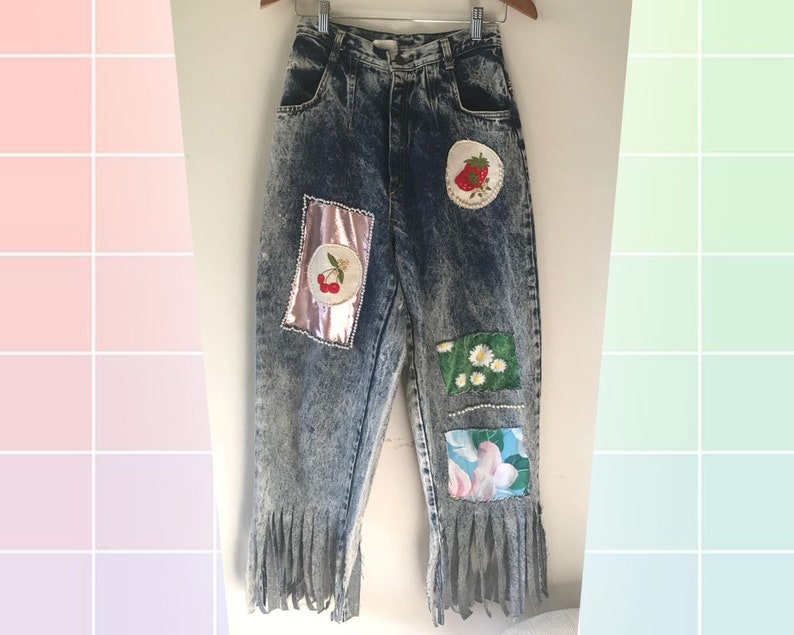 80s Acid Wash High Waist Denim Jeans Upcycled OOAK Pearl Beading Metallic Lame Floral Patchwork Embellishment