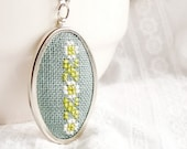 Cross stitch floral necklace in green n037