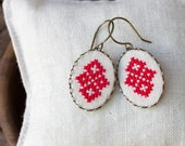 Dangle earrings with cross stitch - Ethnic collection e001