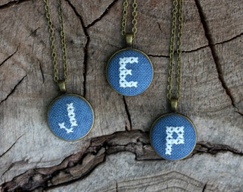 Initial necklace, white embroidery on navy blue i019