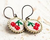 Cherry earrings, botanical jewelry, cross stitch dangle earrings e015