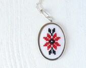 Cross stitch necklace Ukrainian red and black embroidery n005