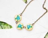 Romantic necklace with violet flowers, cross stitch floral necklace n032