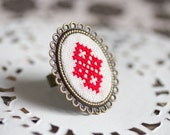 Cocktail ring with red Cross stitch, adjustable ring r003