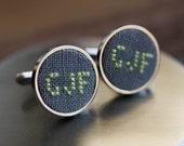 Monogram cufflinks, custom wedding cufflinks, personalized cufflinks for groom, groomsmen, grey fabric - i021