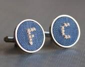 Initials cufflinks, gift for him, Personalized groomsmen cufflinks, Custom wedding cuff links - blue fabric - i024