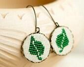 Green leaf earrings, dangle earrings with cross stitch leaves e003