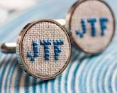 Monogram cufflinks, personalized cufflinks for groom, groomsmen, custom wedding cufflinks - i020