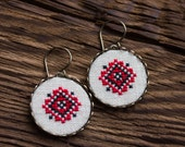 Ukrainian cross stitch dangle earrings - red and black - Ethnic collection e028