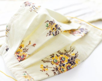 Handmade Face mask, yellow floral cotton fabric, washable, 2 adult sizes and 1 kids