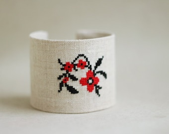 Brede Manchet armband met rode en zwarte bloemen borduurwerk - Oekraïens etnische collectie br007